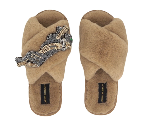 Laines London is a luxury slipper brand with removable brooches